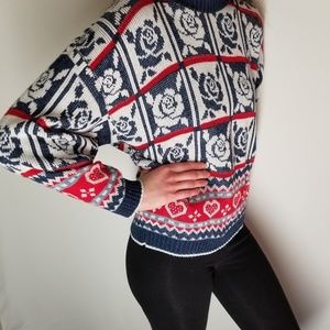 Hot Cashews vintage rose/heart sweater womens sz L